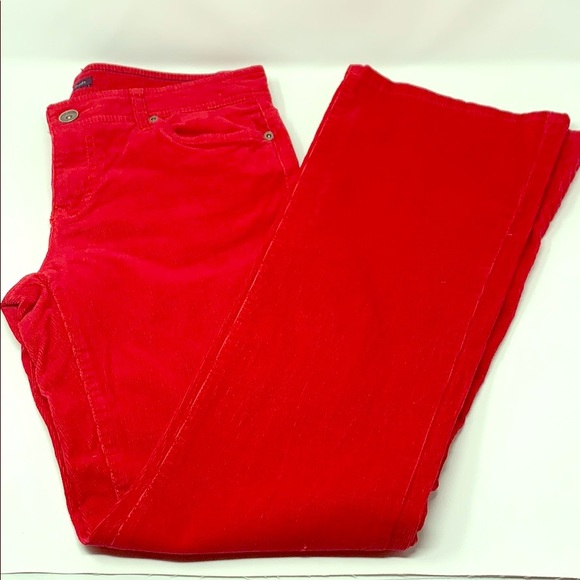 Tommy Hilfiger Mid Rise Red Corduroy Jeans Flared